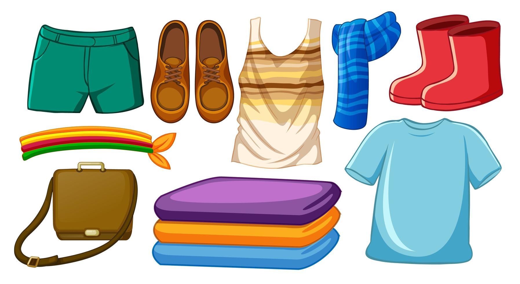 set mode-outfits en accessoires op witte achtergrond vector