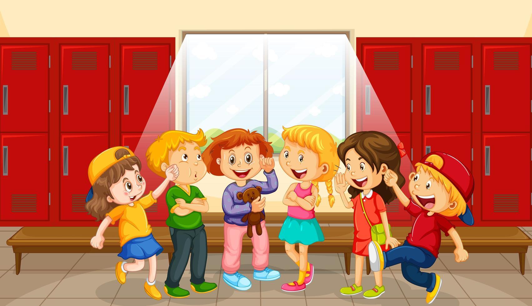 groep kinderen bij kleedkamer vector