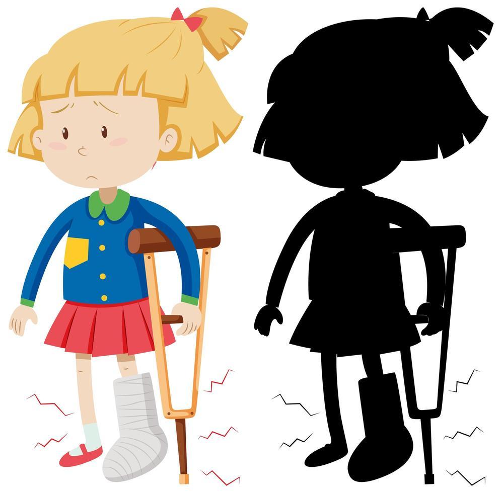 meisje met kruk met zijn silhouet vector