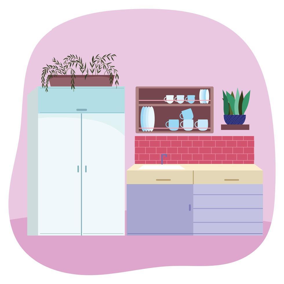 keukeninterieur met gootsteen en meubilair vector