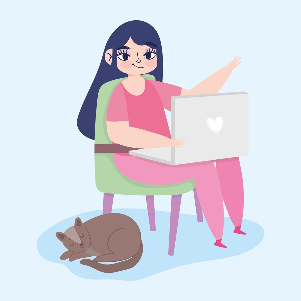 vrouw die op afstand werkt met laptop en kat vector