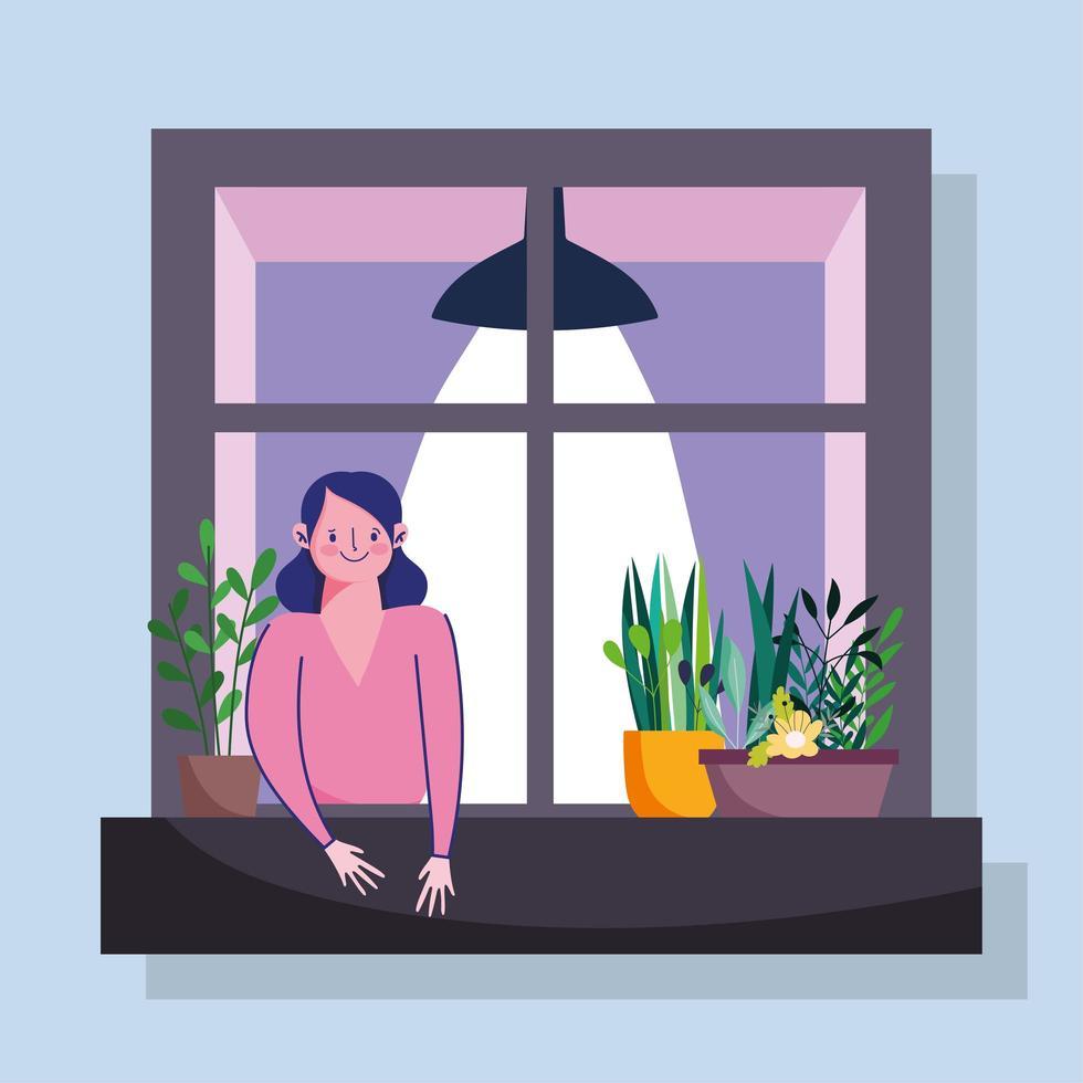 vrouw kijken naar het raam met gevel van het gebouw vector
