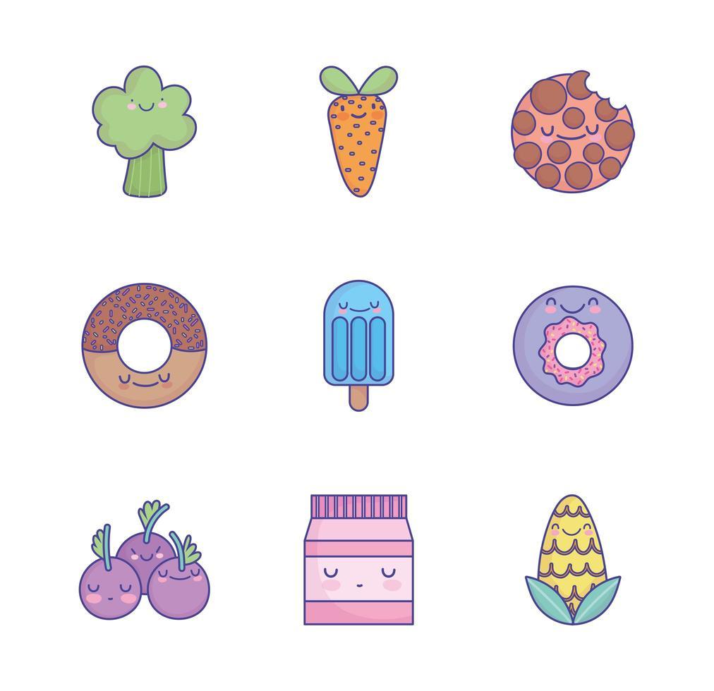 schattige cartoon voedsel pictogramserie vector