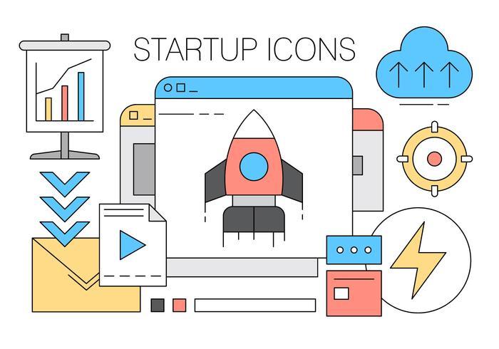Het verzamelen van Startup Iconen in Vector