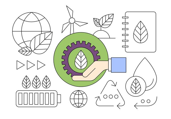Nieuwe Energie en Milieu Recycling Thin Line Ontworpen Icons vector