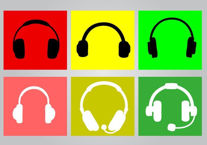 Bright Headphone Icon Set vector