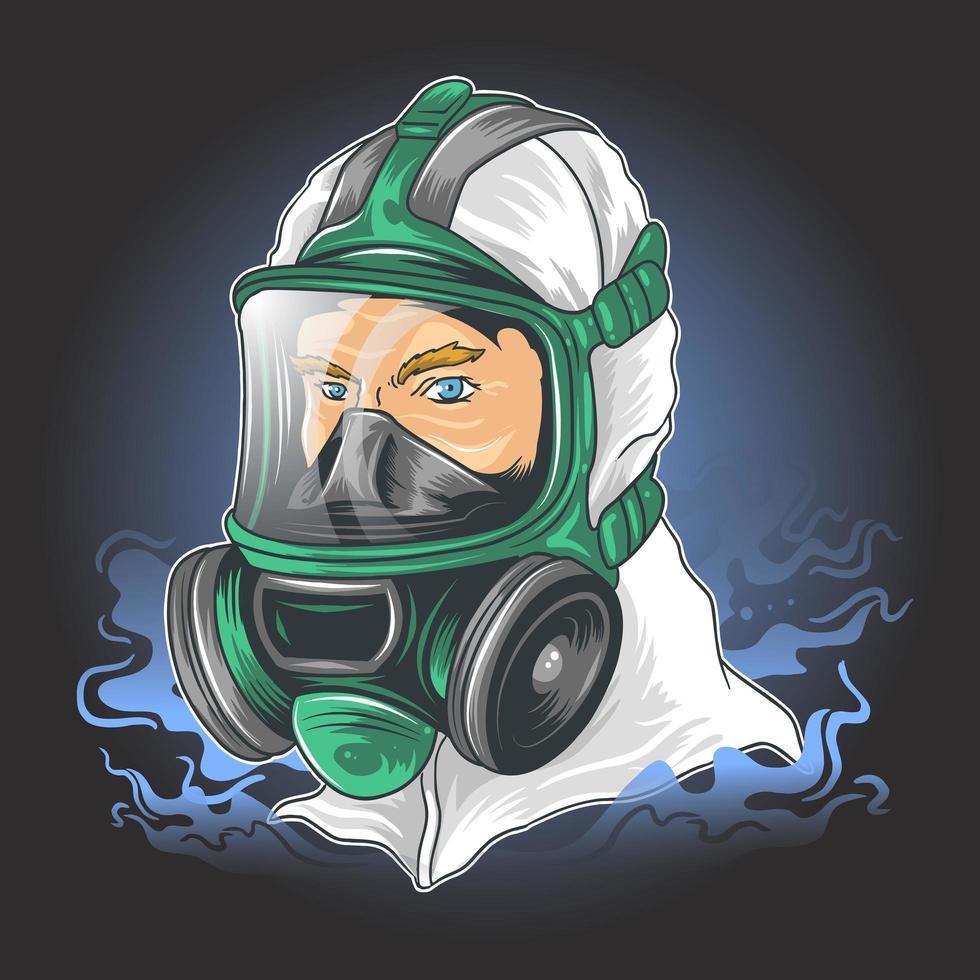 personage in pak met masker om te beschermen tegen coronavirus vector