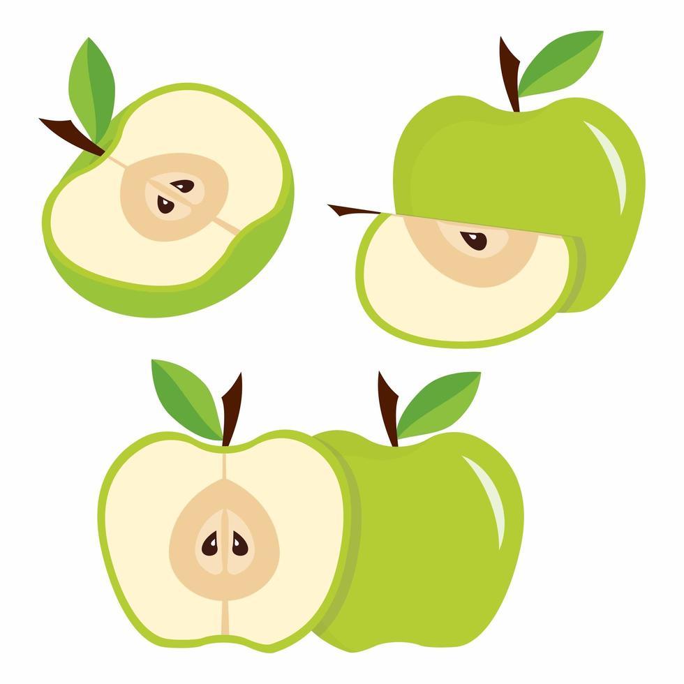 groene appels met bladeren vector