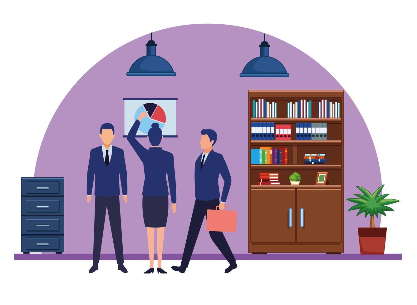 zakenmensen in kantoor die verschillende activiteiten doen vector