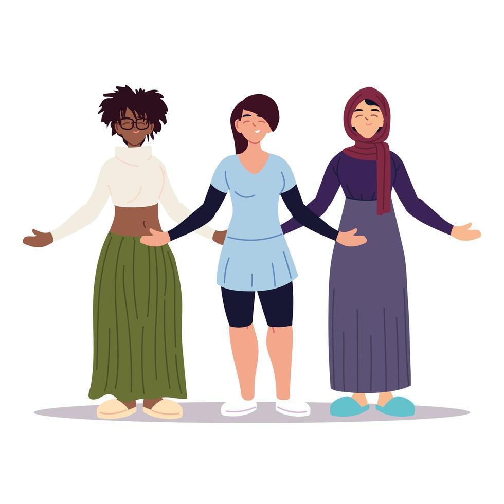 multi-etnische vrouwen samen, diversiteit of multicultureel vector