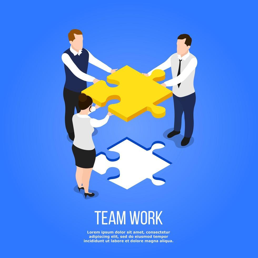 isometrische samenstelling van teamwerkconcept vector