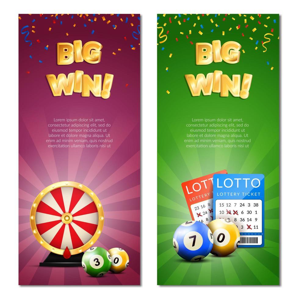 loterij sjabloon banner set vector