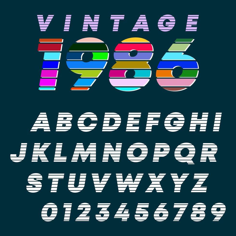 Alfabetletters en cijfers vintage design vector