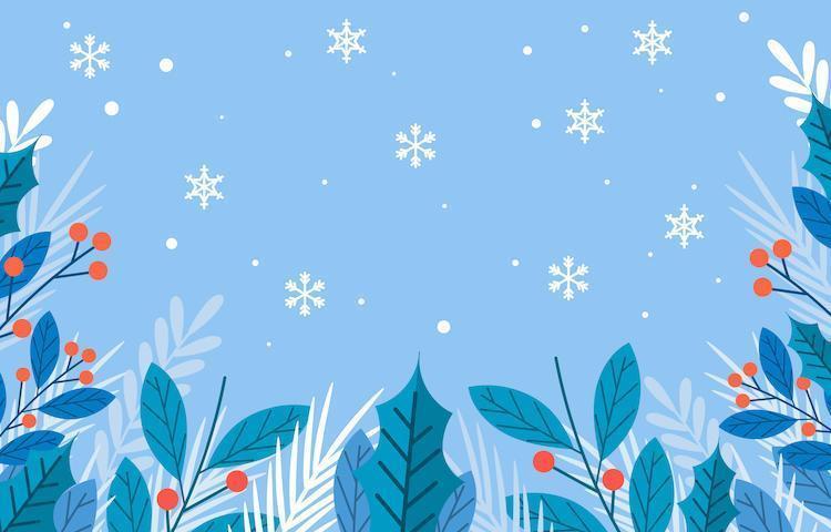 winter seizoen bloemen achtergrond vector