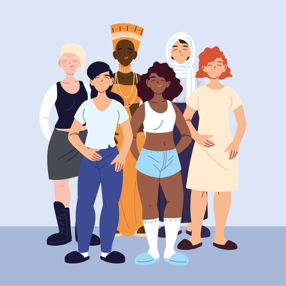 multiculturele vrouwen in vrijetijdskleding vector