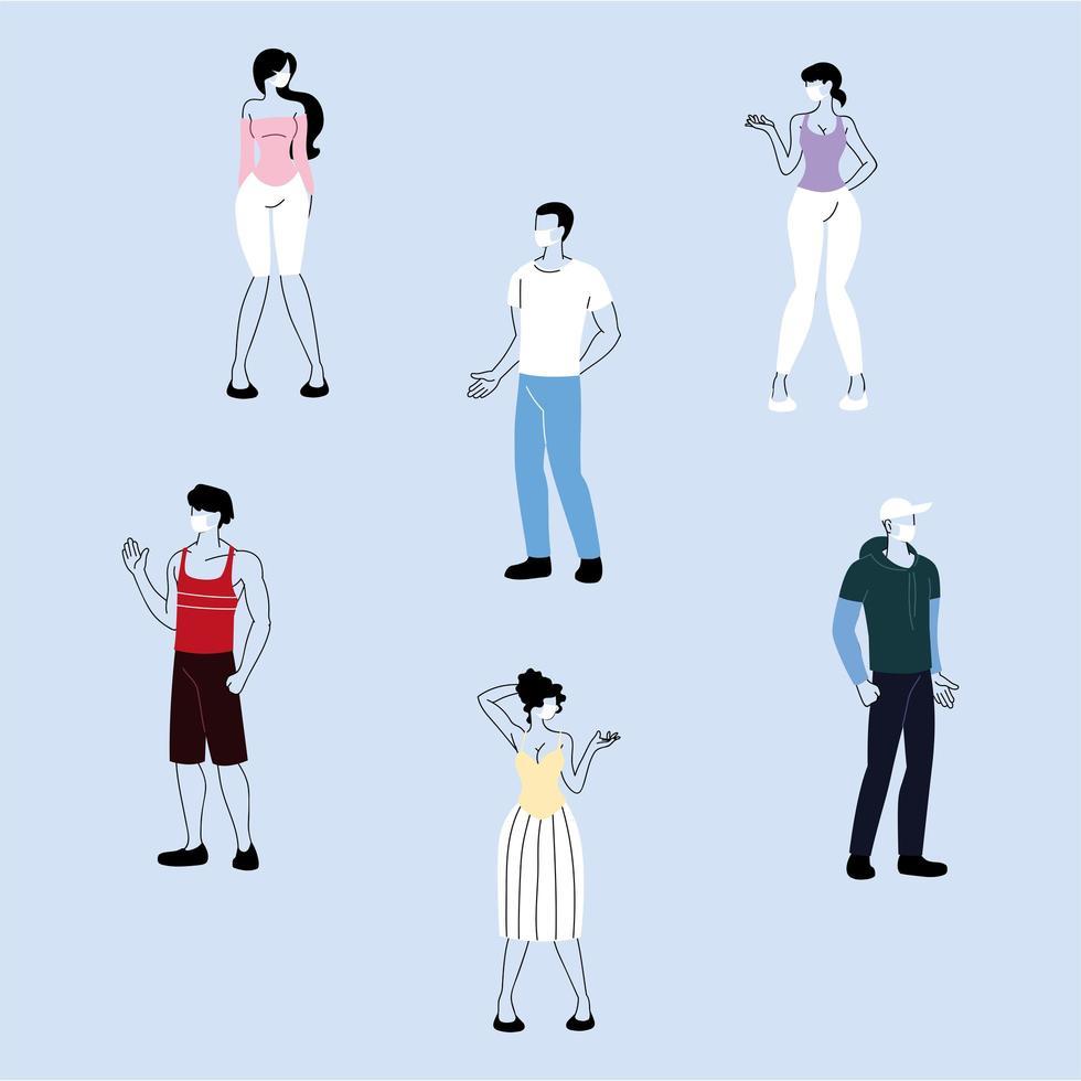 mensen met gezichtsmaskers terwijl ze sociale afstand nemen vector