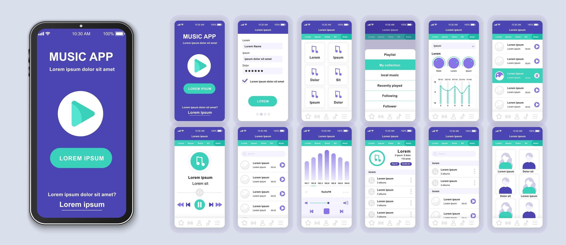 paars en groen muziek ui mobiele app-interfaceontwerp vector