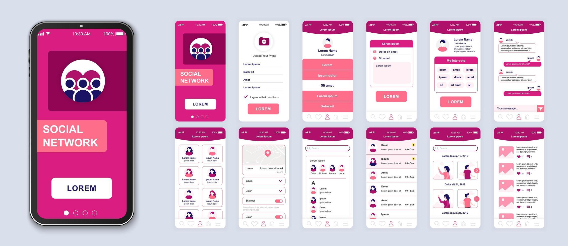 roze sociale netwerk ui smartphone-interface vector