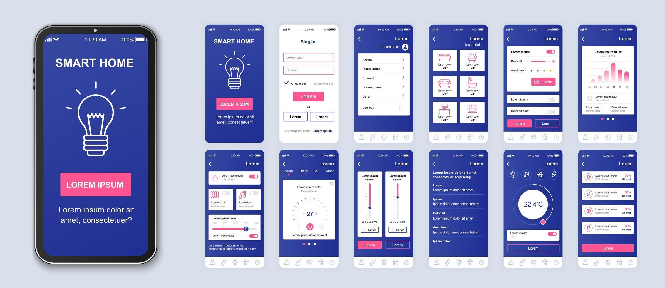 paarse en roze smart home ui mobiele app-interface vector