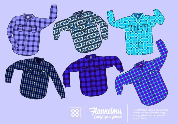 Blauw shirt Flanel Gratis Vector