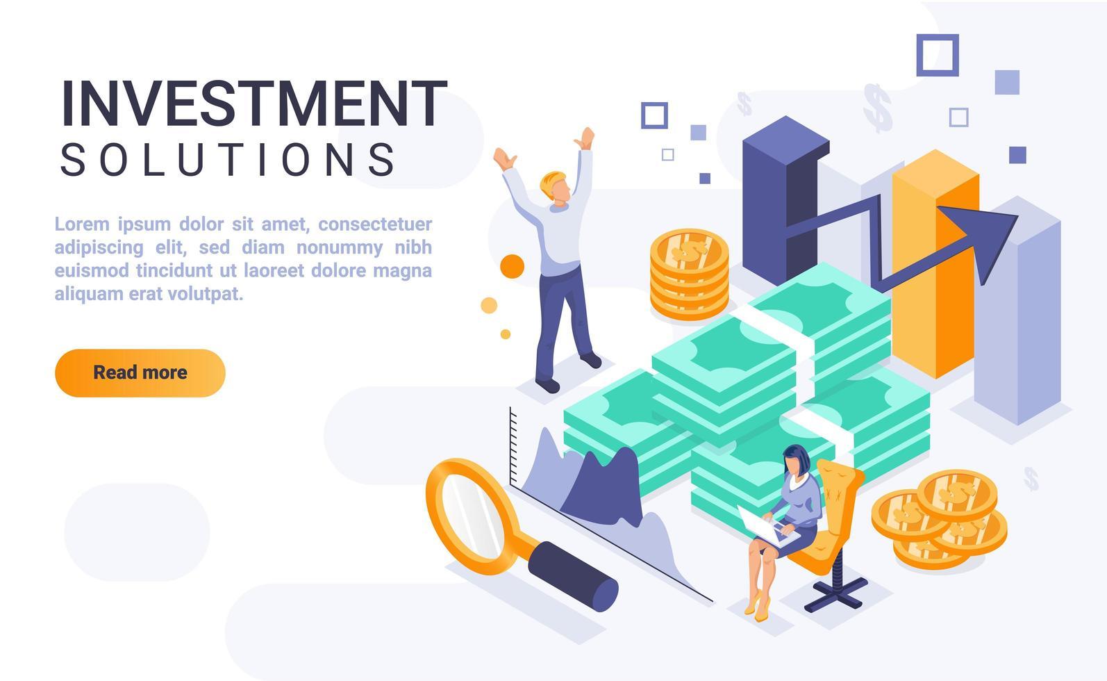 investeringsoplossingen isometrische bestemmingspagina vector