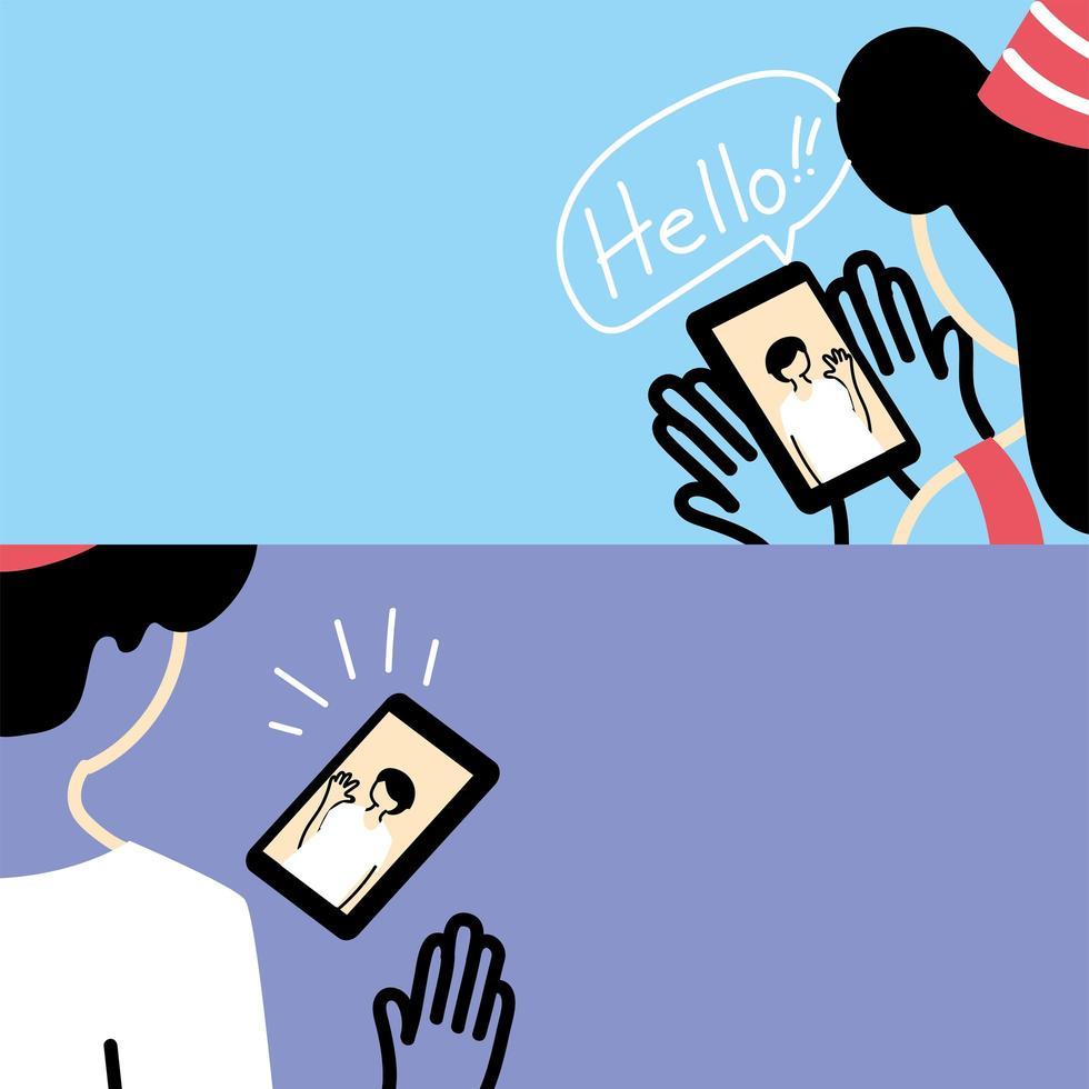 mensen met feestmuts en videochat vector