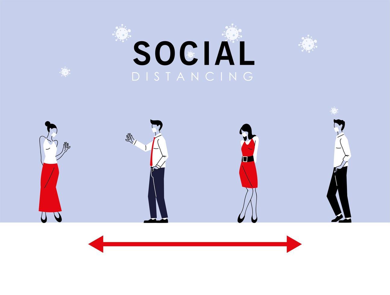 sociaal afstand nemen tussen vrouwen en mannen met maskers vector