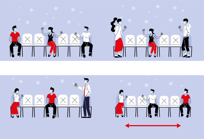 sociaal afstand nemen tussen mensen met maskers op stoelen vector
