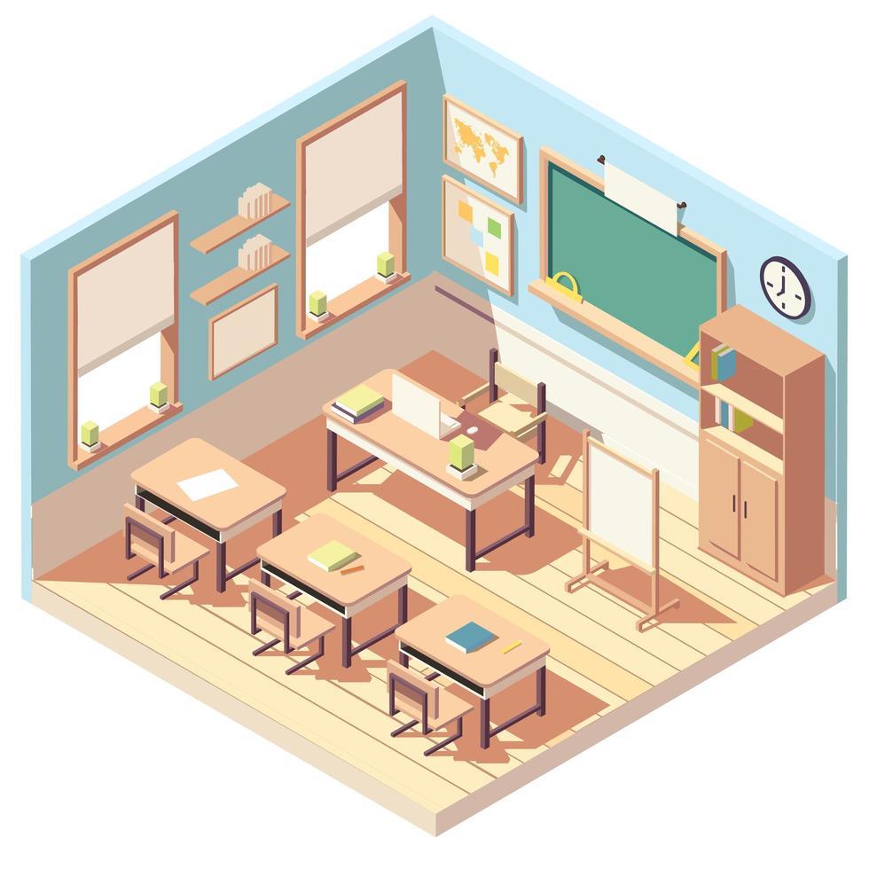 isometrisch mooi leeg klaslokaalinterieur vector