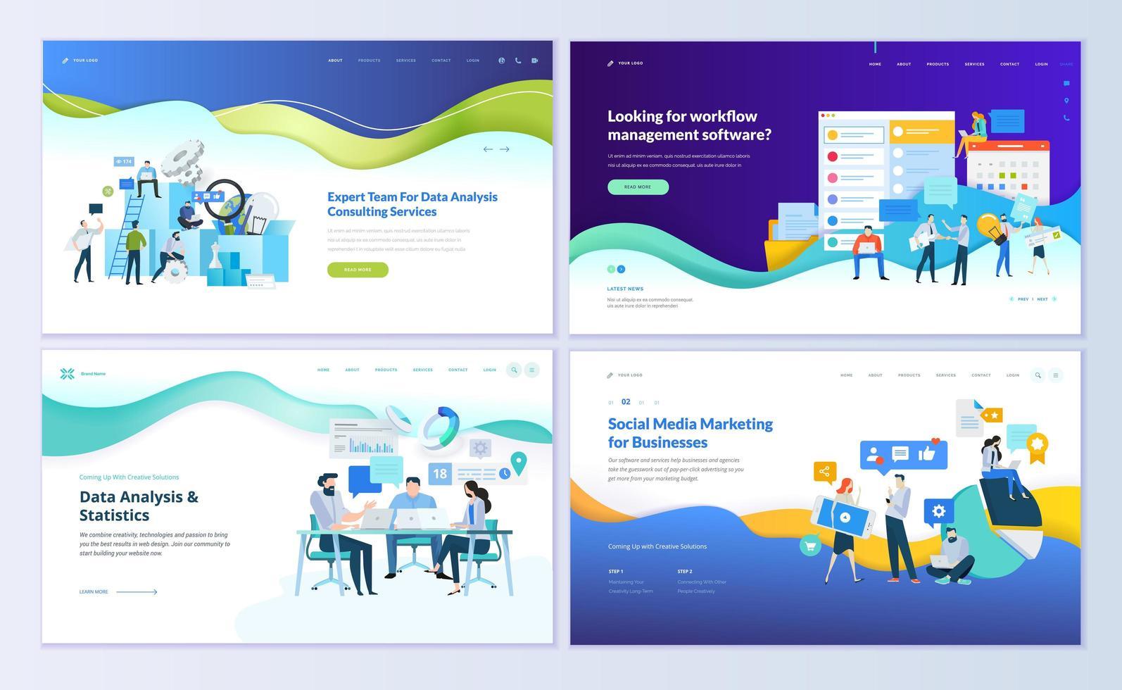 set ontwerpsjablonen voor webpagina's vector