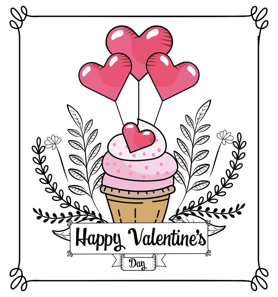 cupcake met hartjes ballonnen voor Valentijnsdag vector