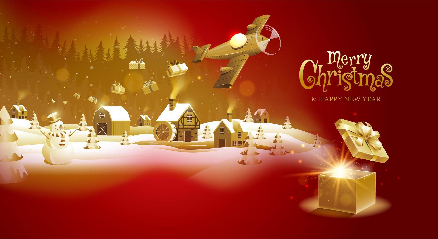 rood en goud kerst ontwerp met vliegtuig geschenken laten vallen vector