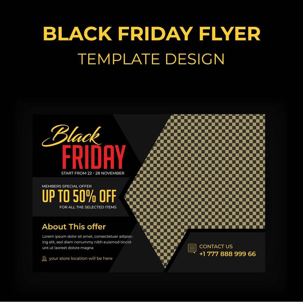 zwarte vrijdag reclame briefkaart vector