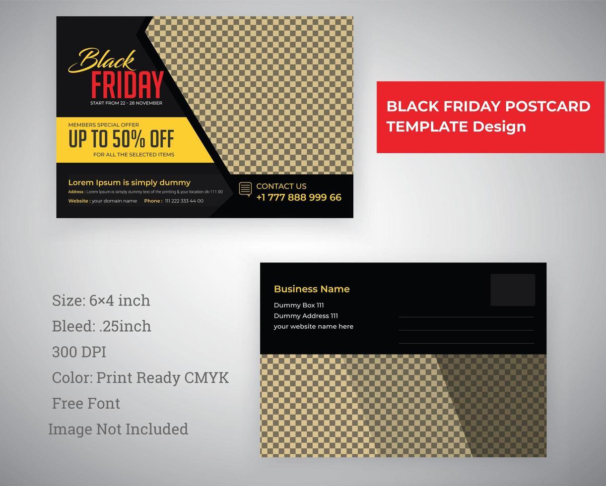 zwarte vrijdag briefkaartsjabloon vector