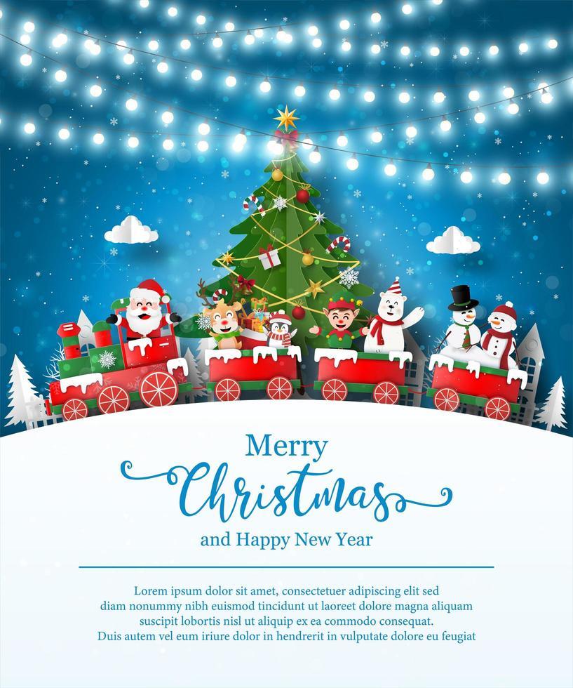 Kerstaffichemalplaatje met de kerstman en vrienden vector