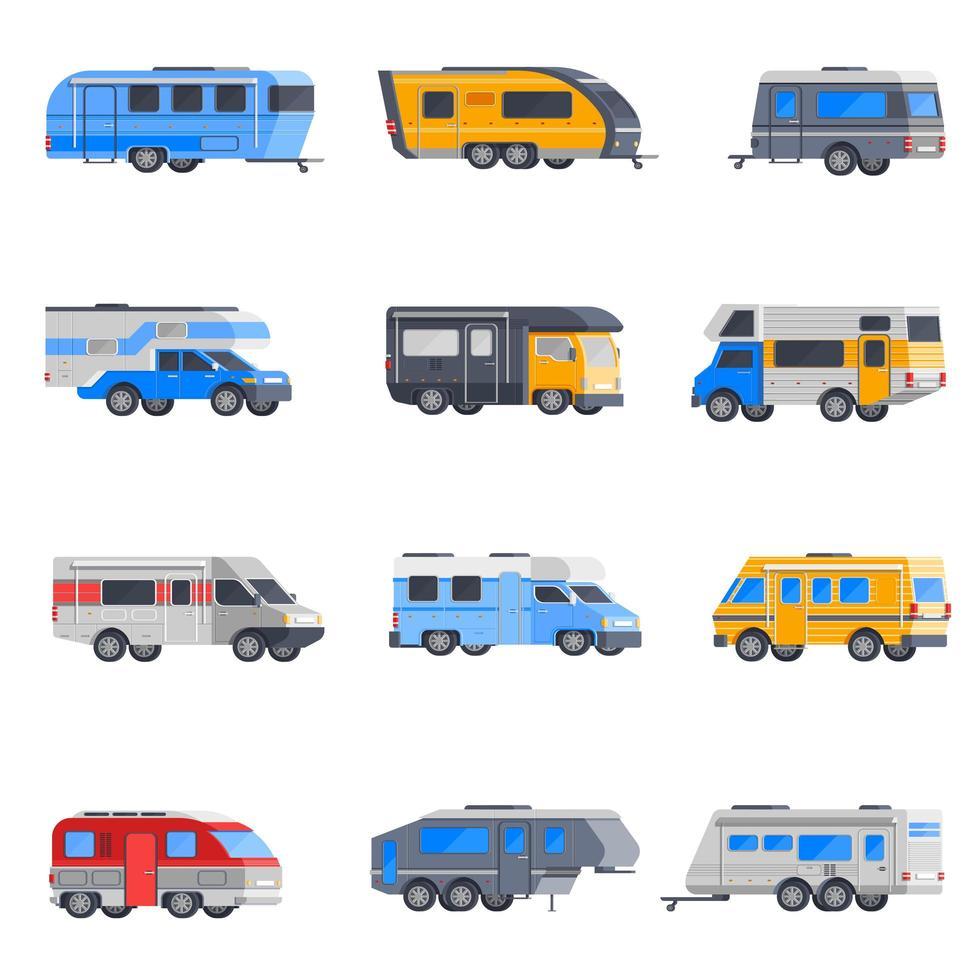 recreatieve voertuigen en camper icon set vector
