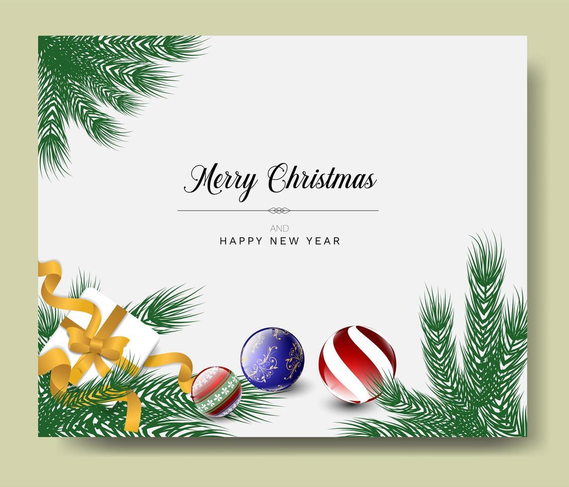 kerst wenskaart met ornamenten en takken vector