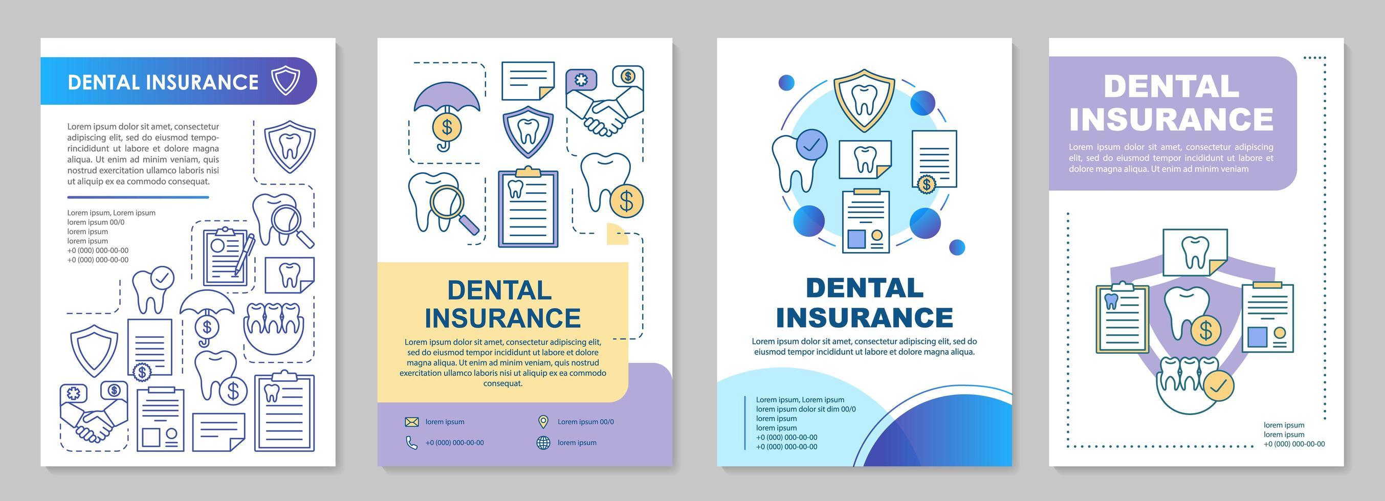 tandheelkundige verzekering brochure sjabloon vector