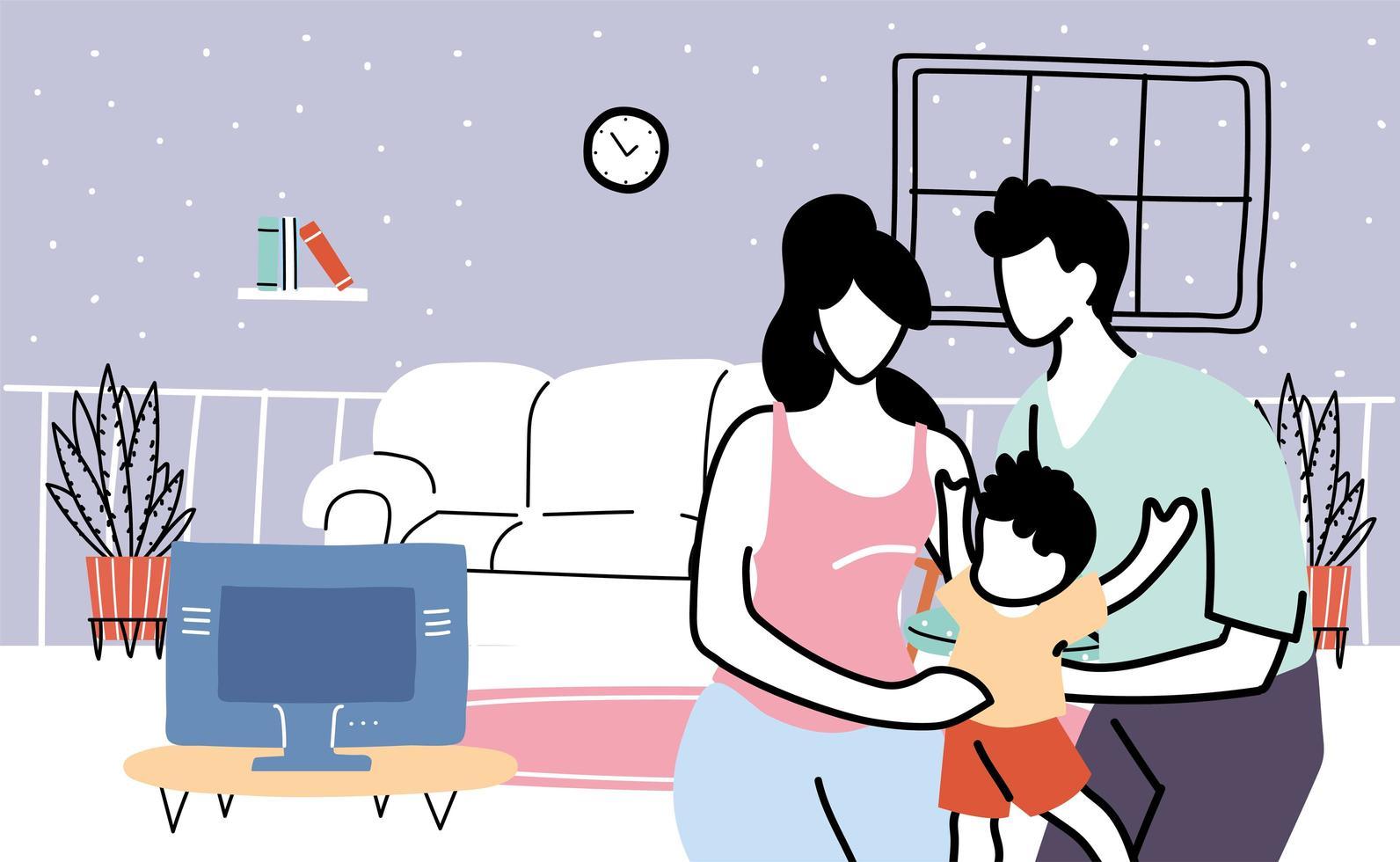 ouders en zoon blijven thuis vector