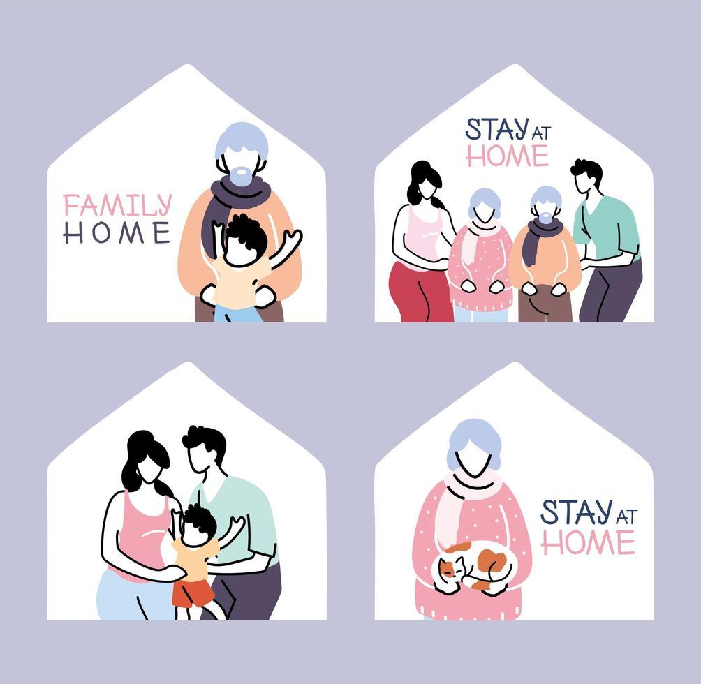 isolatie en sociaal afstand nemen, blijf thuis vector