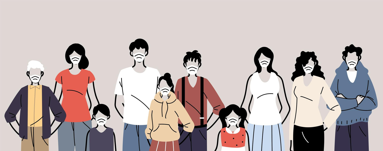 groep mensen in beschermende medische gezichtsmaskers vector