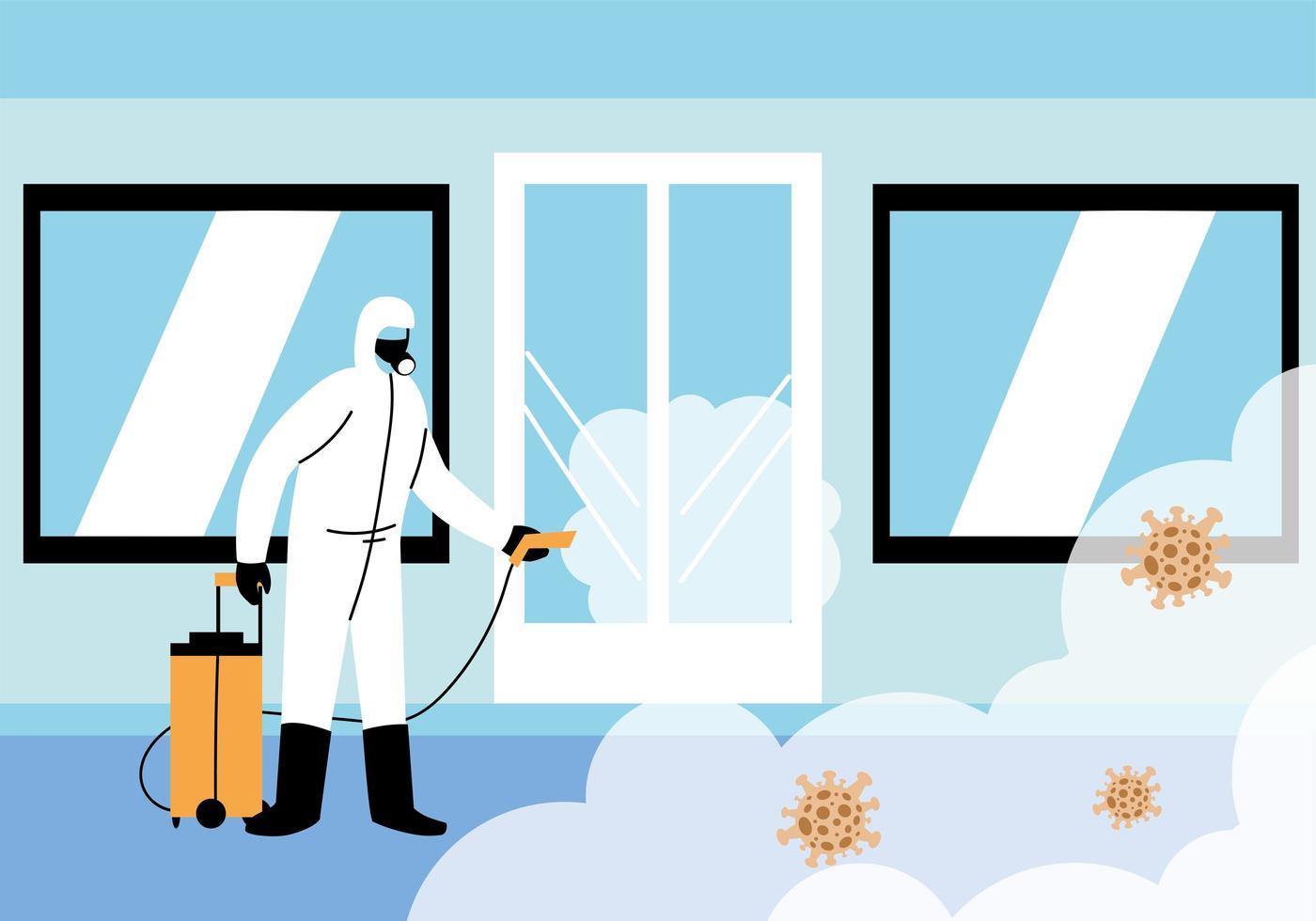 mannen dragen beschermend pak, reinigings- en desinfectieconcept vector
