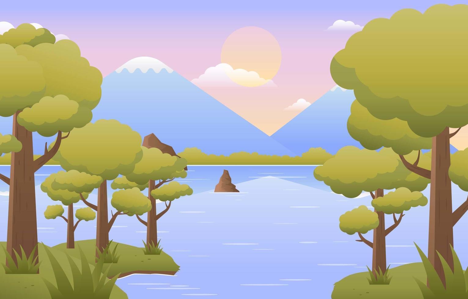 landschap van rivieroever met bomen en bergen vector