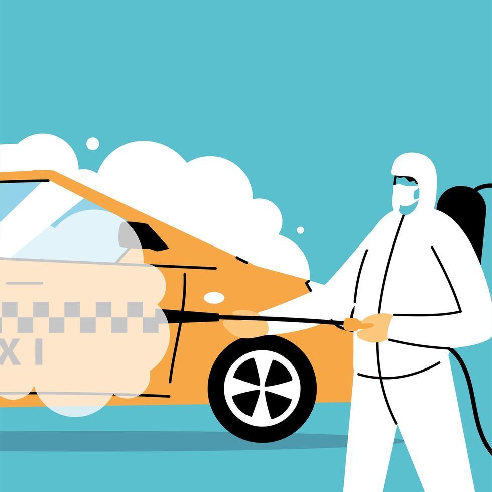 service taxi desinfectie door coronavirus of covid 19 vector