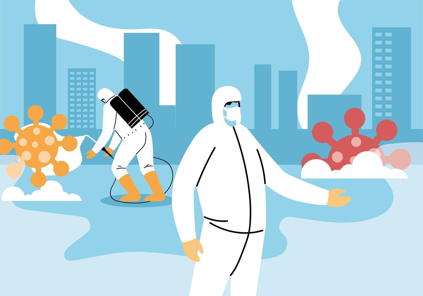 mannen dragen een beschermend pak en desinfecteren de stad vector