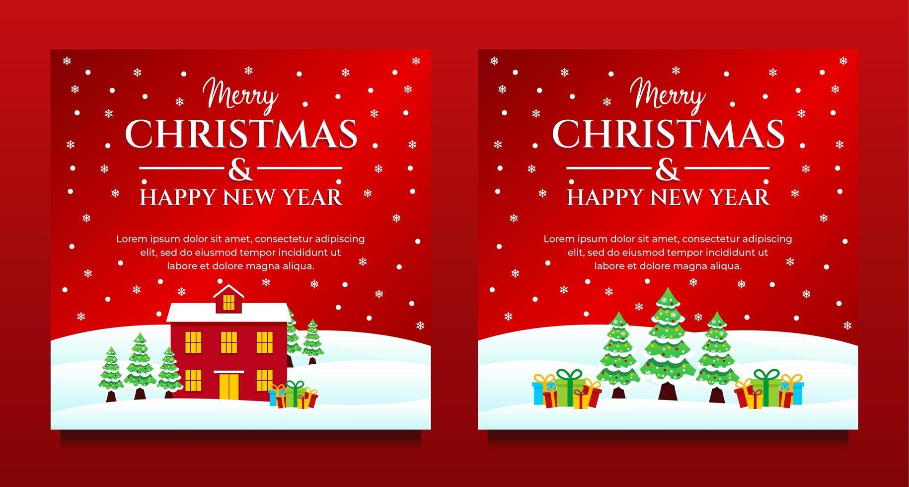 kerst en nieuwjaar winterscène sociale media set vector