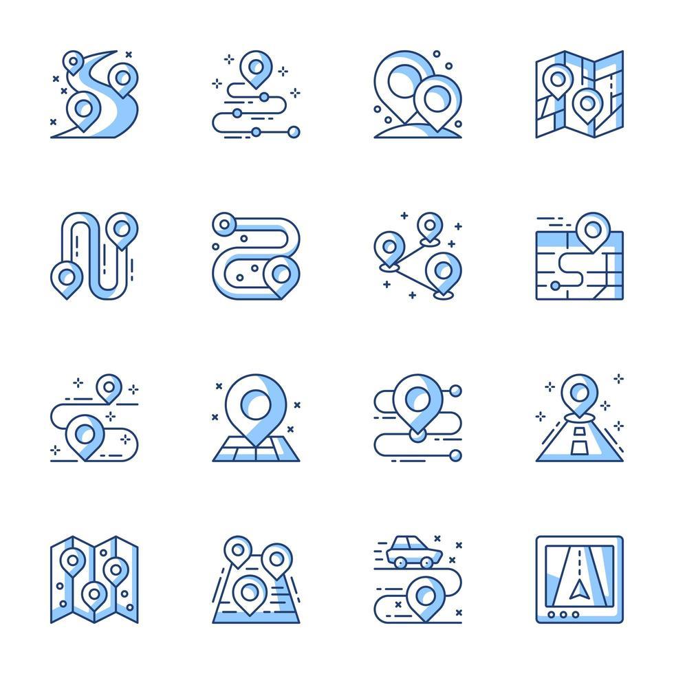 gps-navigator en locatie lijntekeningen icon set vector