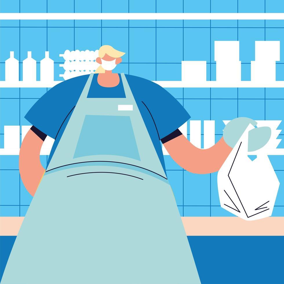 mannelijke ober met gezichtsmasker, veiligheid en preventie vector