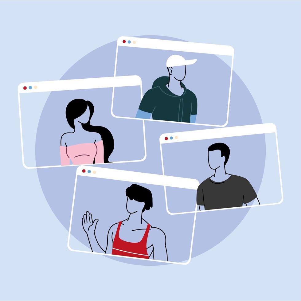 groep mensen praten in videocall-conferentie vector