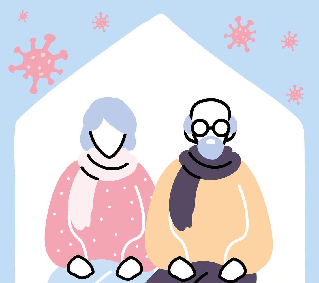 oud echtpaar blijft thuis van coronavirus-pandemie vector
